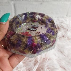 Floral Butterflies Resin Tray